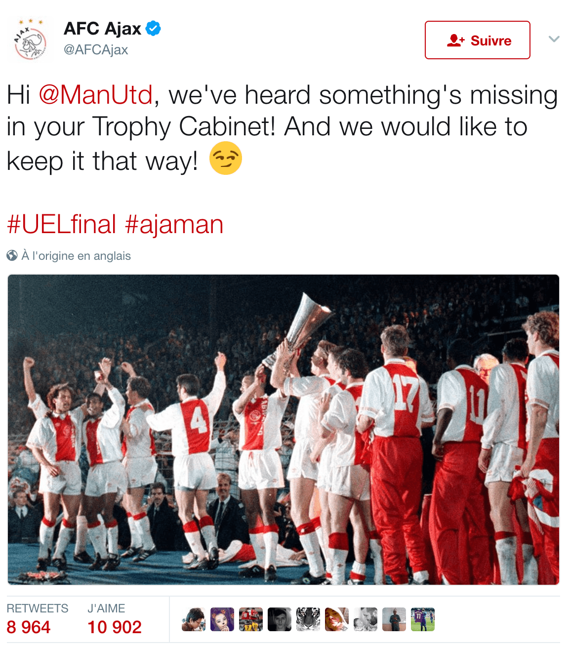 Ajax vs Manchester United Tweet